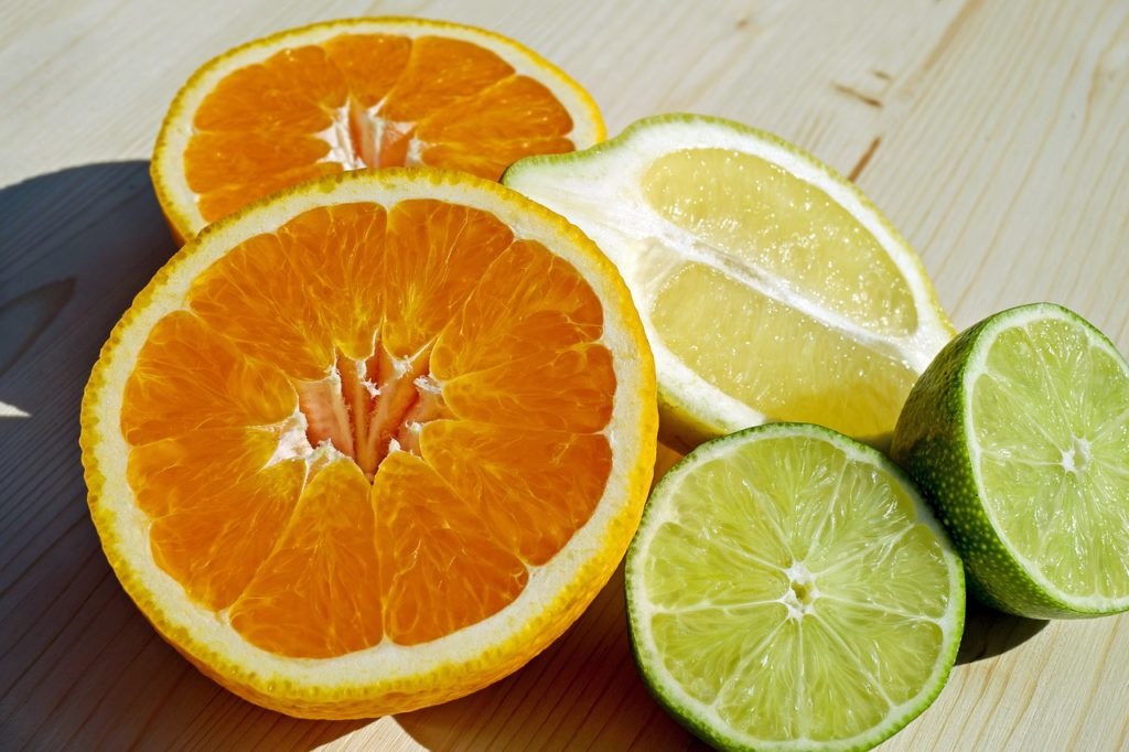 orange, lemon, and lime