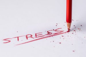 the word stress in red ink
